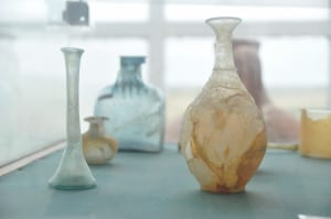 Glass recipients in a museum