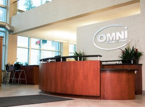 Front desk of omni glass and paint